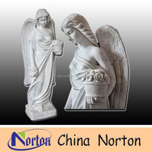 hand carved white marble angel sculpture/life size stone angel statue NTMS-R183S