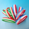 Wholesale Fashion Gifts 1/2 inch World Cup Tricolors Stripe Colors Layer Country Flag Customized Silicone Wristband
