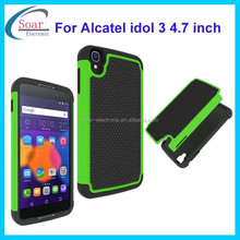 Wholesale football pattern PC&Silicon case for Alcatel idol 3 4.7 inch,hybrid cover case for Alcatel idol 3 4.7 inch