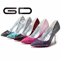China wholesale middle heel beautiful glitter pumps shoes with slip on
