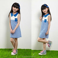 wholesale 3 solid colors stripes print kids girl dresses of korean euro america style fashion design new model