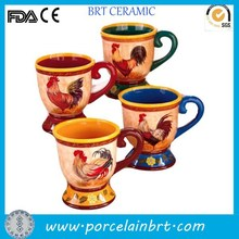 Custom color decorative yellow rim ceramic Rooster Mug