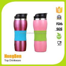 16oz double wall insulated coffee mug thermal cup with 100% leak proof lid with silicone grip