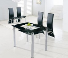 4 seater living imported banquet luxury modern expandable clear black tempered glass office coffee dining table/Cheap tea table