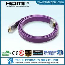 Venta caliente 6 pies de HDMI a HDMI cable plano chapado en oro