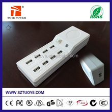New Product 50 60W 10Amp 8port Inteligent USB Charger with Intelligent IC, Wall Travel Power Adapter for Ipad,Iphone and IPods