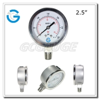 2 1/2 Inch 63mm dial Stainless steel liquid filled gas pressure gauge manometer