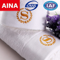 wholesale pure white towel plain dyed custom China 5 star hotel Topgrade 100% cotton hotel towel