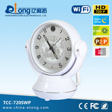 Factory price p2p 1 mega 720P HD CMOS 2-way audio wide angle MIC built-in table clock table clock camera(TCC-720SWP)