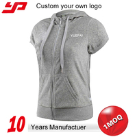 wholesale womens custom 100% cotton plain short sleeve hoodie with zipper
