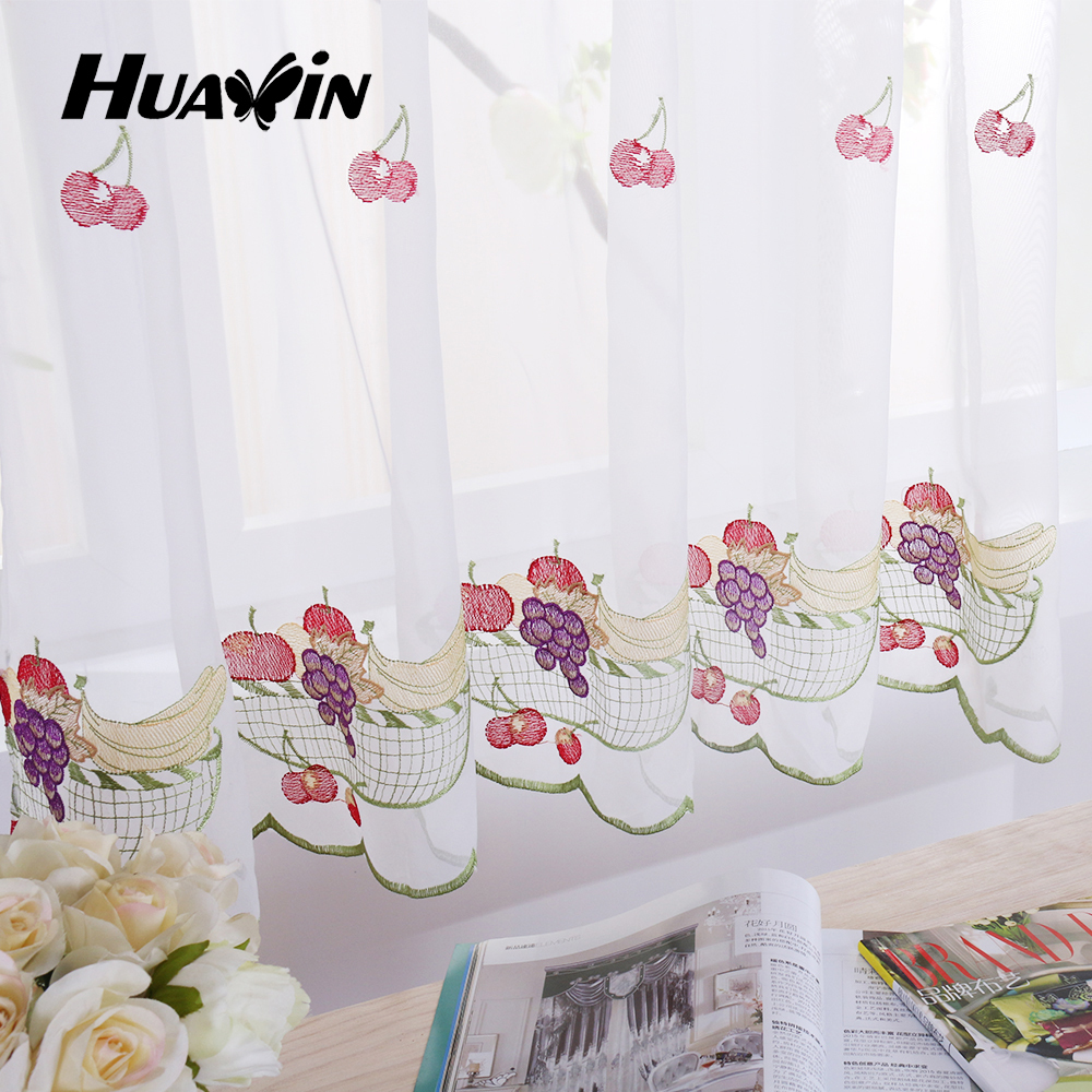 fruit design embroidery voile kitchen cafe curtains view sheer kitchen curtains huaxin product. Black Bedroom Furniture Sets. Home Design Ideas