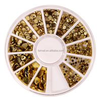 Gold Nail Art Metal Sticker Decoration Acrylic Tips Metal Slice Wheel Tiny sticker Mixed Design + Wheel
