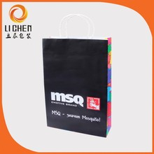 Brand logo printing cheap brown paper bags with handles wholesale