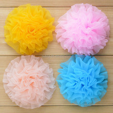Wrinkle Organza Rolled Voile Chiffon Flowers Headband Accessories For Dresses