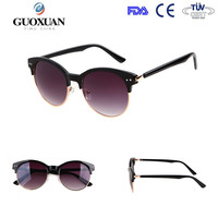 2015 fashion clubmaster round style sunglass with acrylic lens and half frame