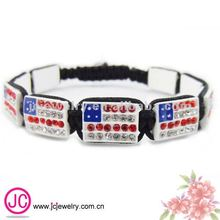 Olympic Games American flag square crystal bead bracelet 2012