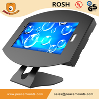 Chinese supplier of 45 degrees tiling L shaped free standing desk top 360 degrees Swivel Android tablet kiosk stand