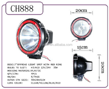 35W 7 inch search light, led search light with red ring, led circle light off road spot
