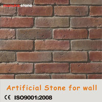 Red color wall manufactured antique 3Dbrick