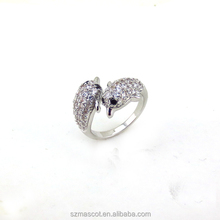 China Factory Direct Sale Elegant Zirconia Adjustable Dolphin Ring Metal Ring