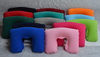 3 colors normal Promotion inflatable pillow, flocked inflatable neck pillow