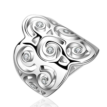 Fashionable Tin Alloy Women Ring white silver - plated Hollow Style Rose Gold rings
