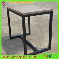 (SP-T101) Uptop rough look wood food street high table with metal leg