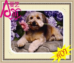 YIWU KAINA CUTE DOG AND ROSES PICTURES HOT OIL PAINTING YIWU KAINA PHOTO IMAGE WALL DIY CRYSTAL DIAMOND HOME DECOR OIL PAINTING