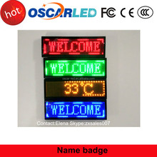 Sale promotion rechargeable mini small led message or image sign led digital name badge