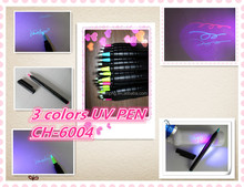 permanent UV marker pen ideal anti-counterfeiting,night-club or business gift CH-6004, three UV colors invisible ink/ magic pen