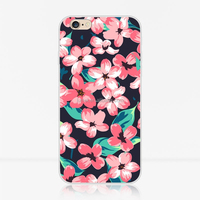 Fashion Colored Drawing Folwer TPU Phone Case Cover For Apple Iphone 6/6 Plus