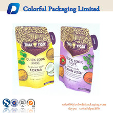 2015 Customized printed cook sauce standup pouch / plastic packaging bag