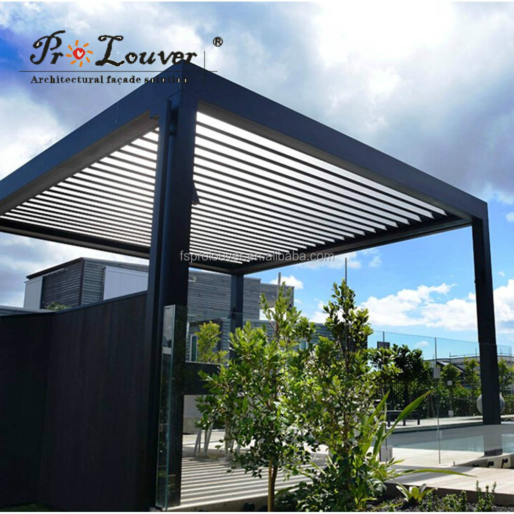 Pergola gemotoriseerde zon louvre waterdichte louvre open dak louvre rolluiken product id - Waterdichte pergola cover ...