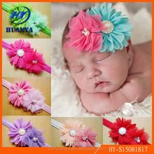 Hot sales baby chiffon pearl diamond flower headband Cute infant toddler fabric flowers cotton headbands