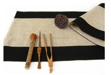 linen & cotton table runner wit color rim