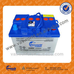 DIN standard high quality and longlife 12V55AH dry charged car battery