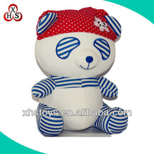 The most popular blue pattern soft toys panda with red kerchief