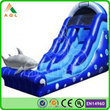 blue shark style cheap price inflatable water slide for kids and adults
