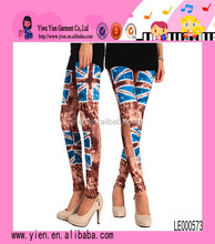 Fashion Flag Printing Stretch Denim Ninth Point Milk Silk Leggings