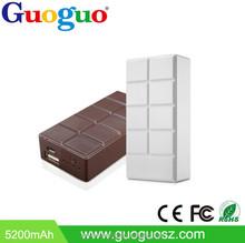 Best brand gift 5200mAh wind up portable chocolate rohs power bank 5600mah for macbook pro /ipad mini