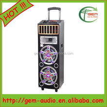 "Dual 10""/8"" subwoofer Speaker with horn driver outdoor speaker with USB/SD/FM 2 microphone socket Gem-712"