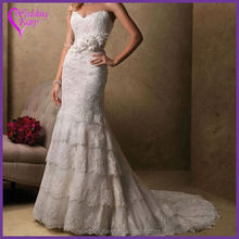Best selling low price lace a-line bridal dress from China