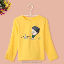 2015 top selling custom 100 combed organic children long sleeve printed boy t shirt