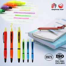 China school supplies wholesale plastic ball pen with highlighter , high quality plastic pen