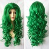Bright Green Hair Piece Long Curly Synthetic Hair Wig