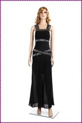 long elegant sequin black sleeveless Crystal Diamond Beaded Long Gown