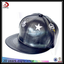custom embroidered black leather snapback cap men