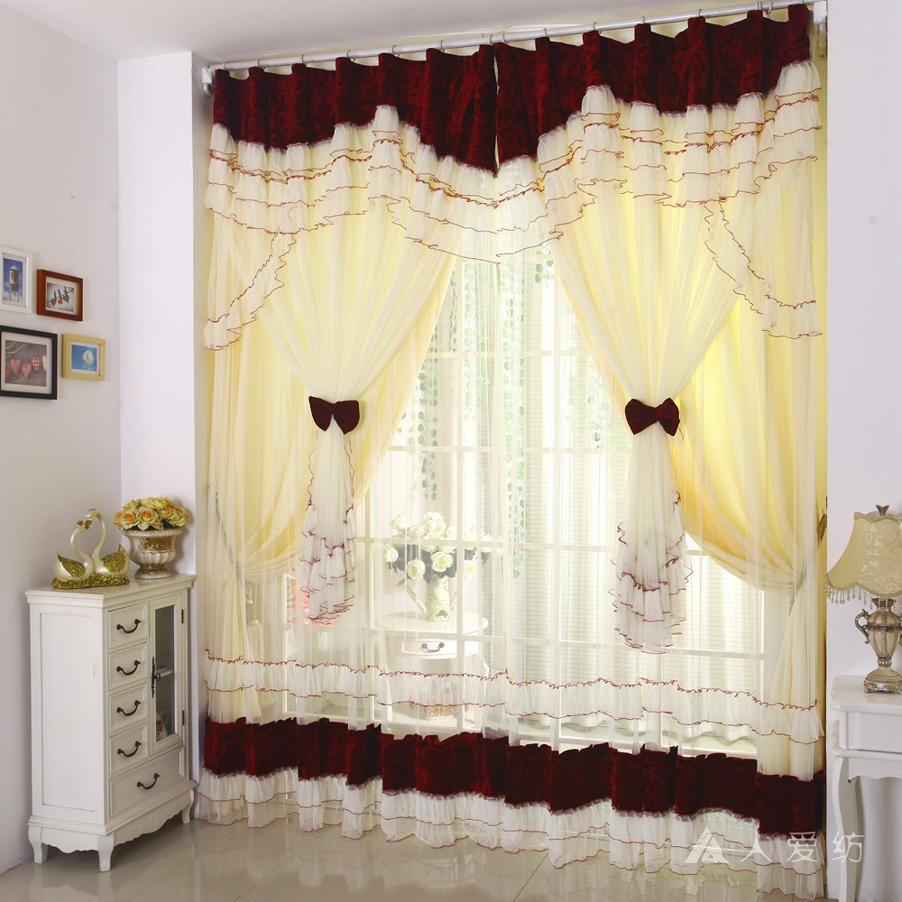 Wholesale-Fashion europe gauze window curtain size 400cm*280cm wholesale modern curtains for living room beige romantic sheer curtains