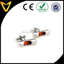 Custom design color red cufflinks,high polished new design brass cufflinks,red spirit level cufflinks multi-function cufflinks
