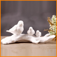 zakka wind Home Decoration white bird stand tree ornaments pottery office den mixed batch